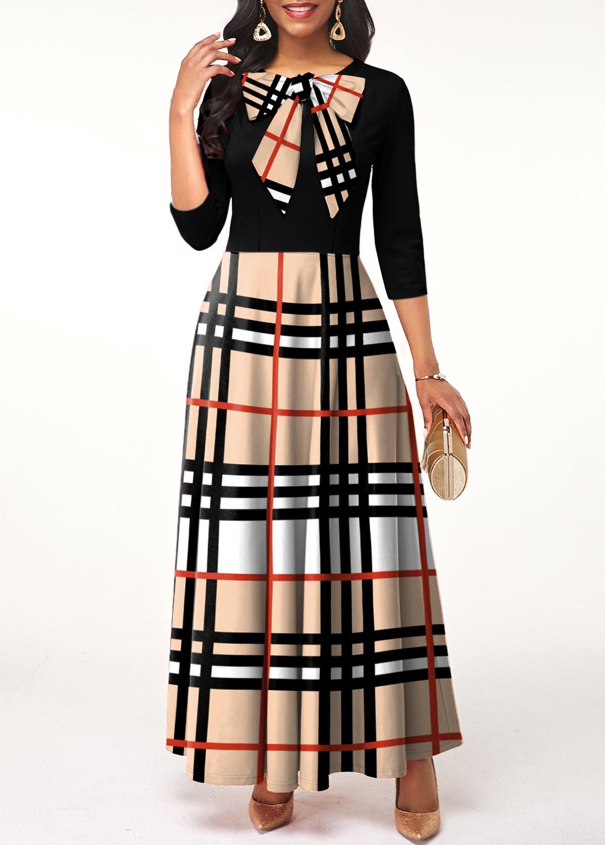 Plaid Bowknot Long Sleeve Maxi Dress