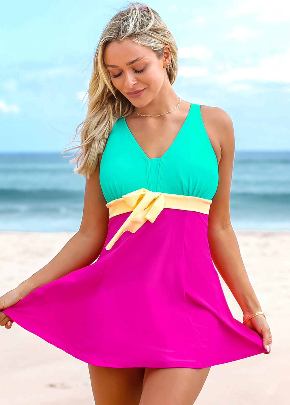 Color Block Wide Strap Swimdress and Shorts