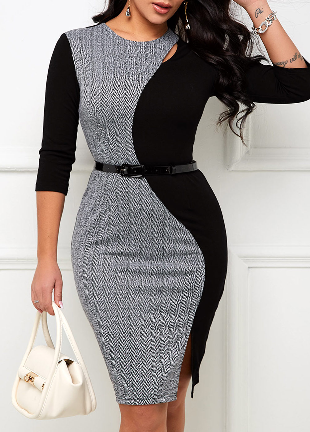 Contrast Round Neck Belted Bodycon Dress