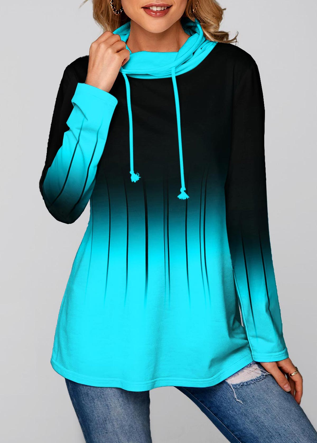 Long Sleeve Ombre Cowl Neck Tunic Top