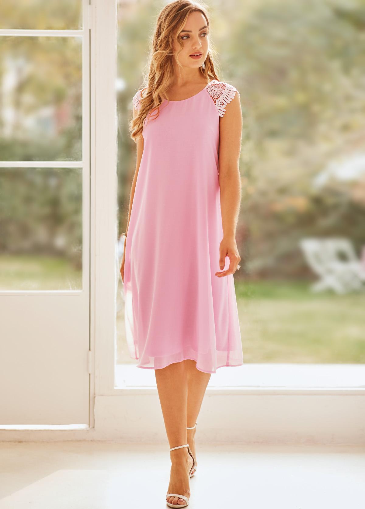 Lace Panel Pink Sleeveless Round Neck Dress