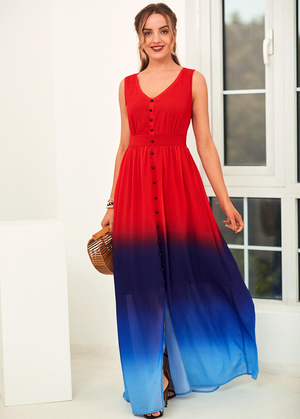 Ombre V Neck Sleeveless High Waist Dress
