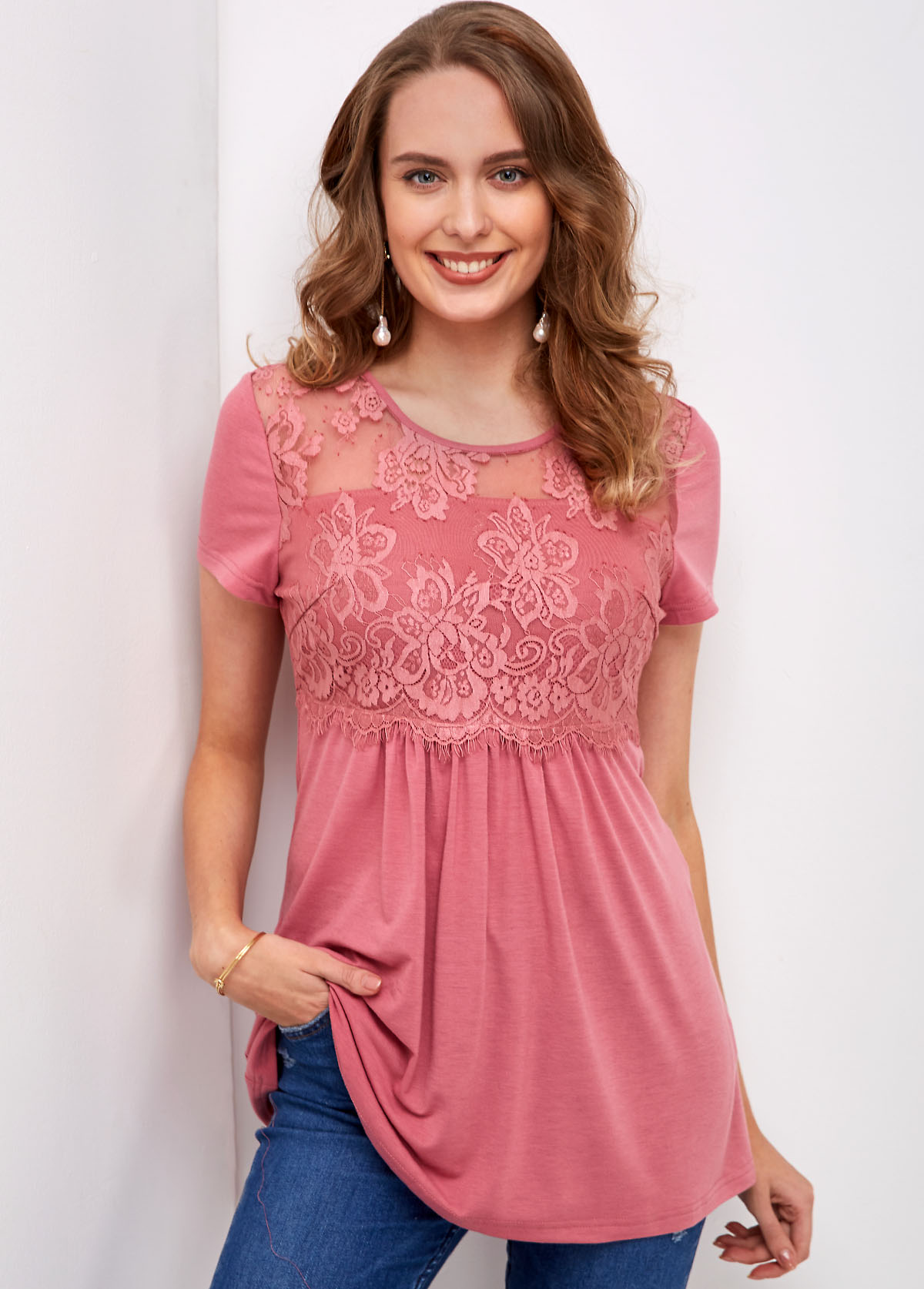 Round Neck Lace Stitching Short Sleeve T Shirt