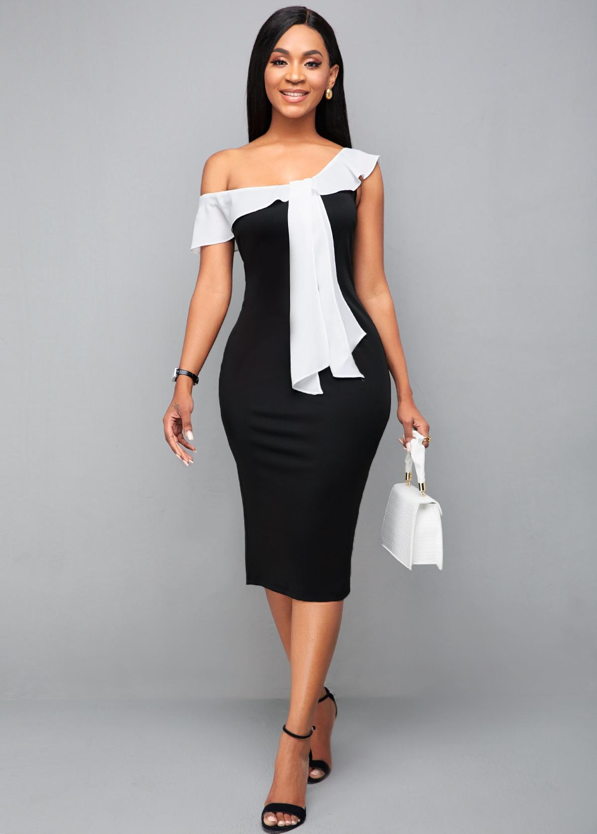 Ruffle Hem Color Block Bodycon Dress