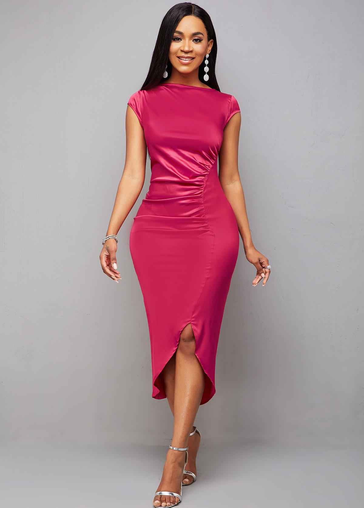 Asymmetric Hem Ruched Cap Sleeve Bodycon Dress