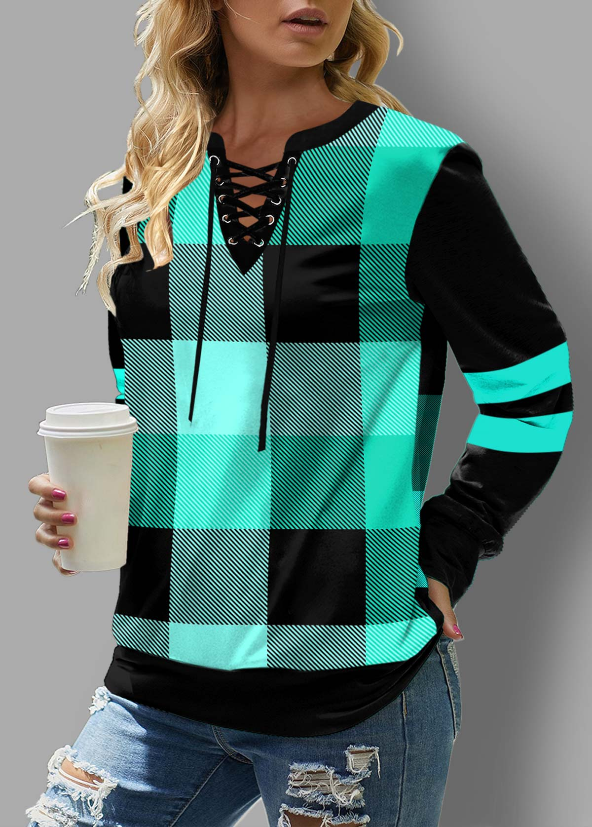 Mint Green Plaid Lace Up Sweatshirt