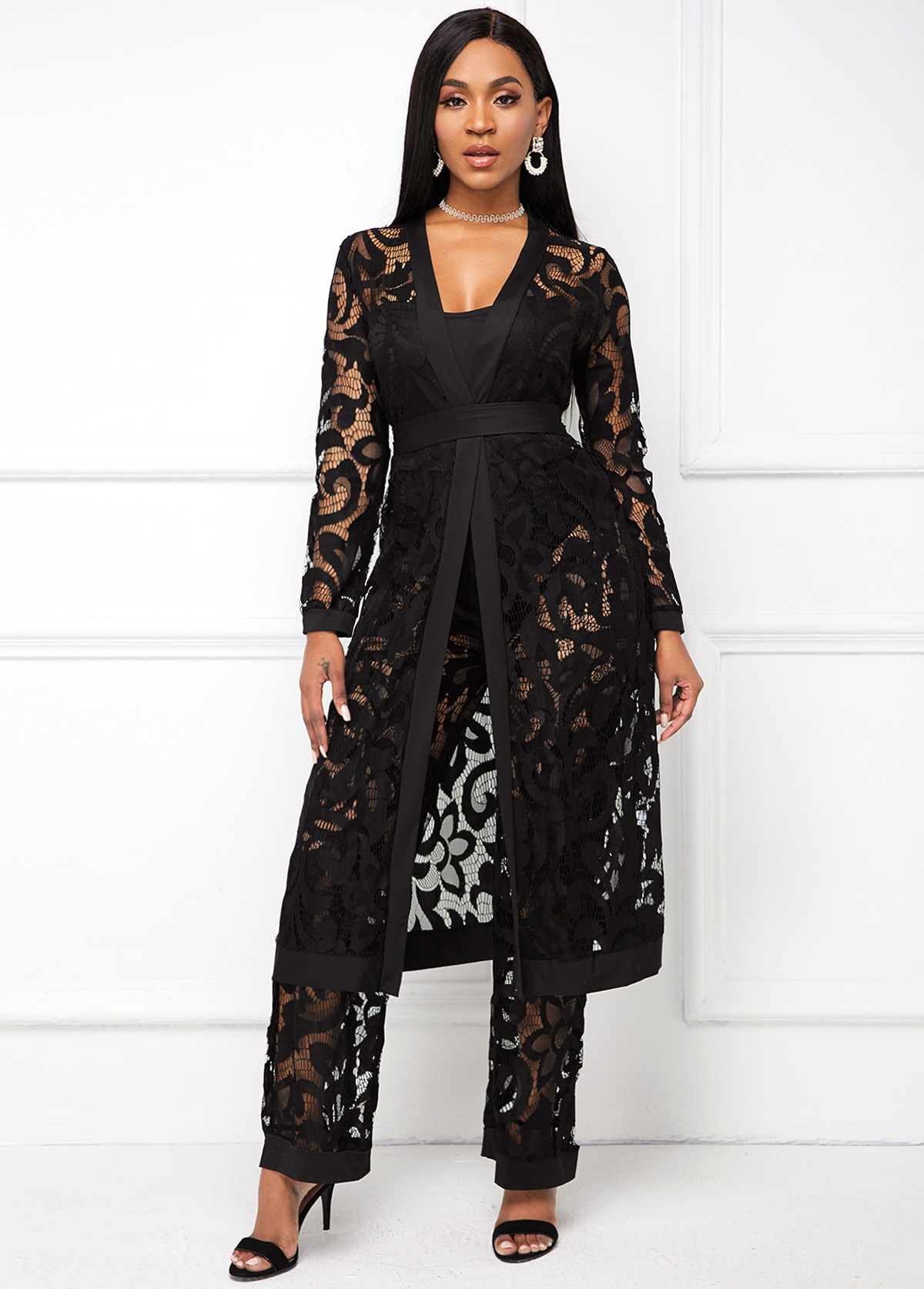 Belted Black Lace Three Piece Set