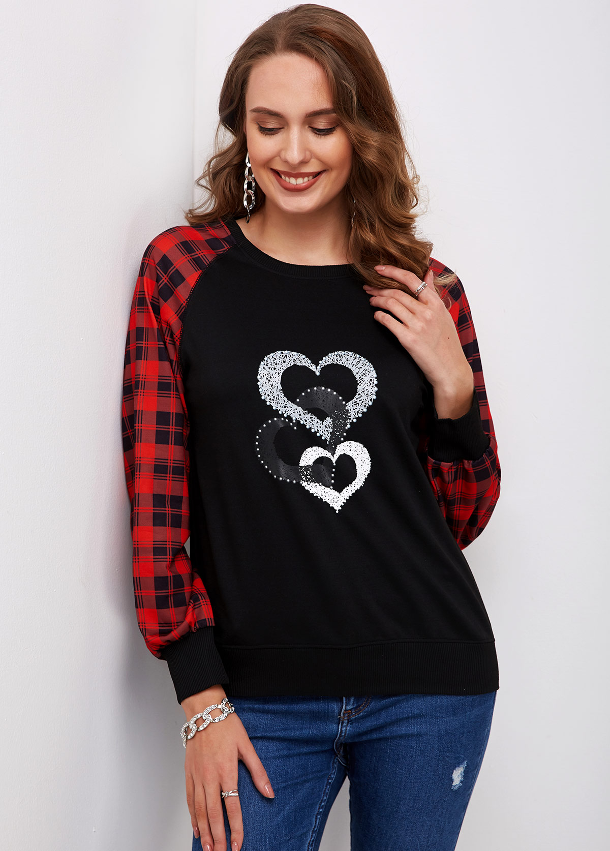 Plaid and Heart Print Round Neck T Shirt