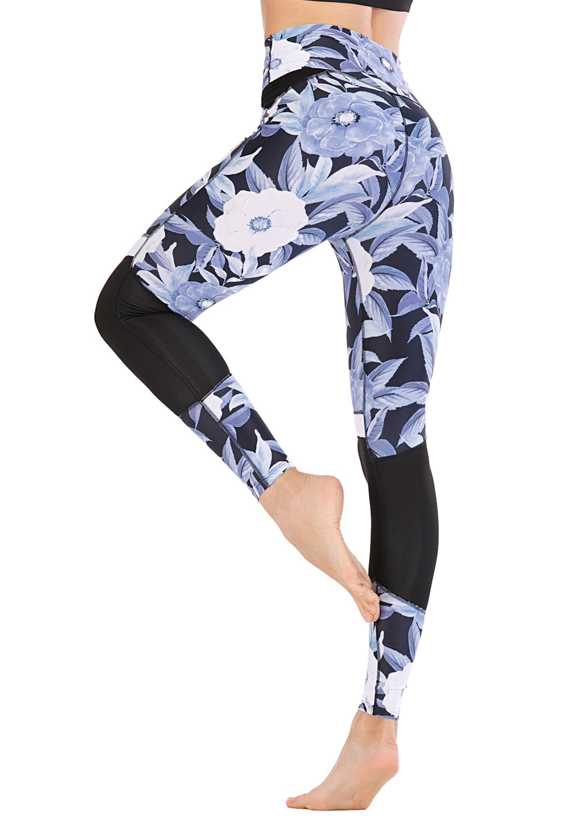 Floral Print Moisture Wicking Tight Pants