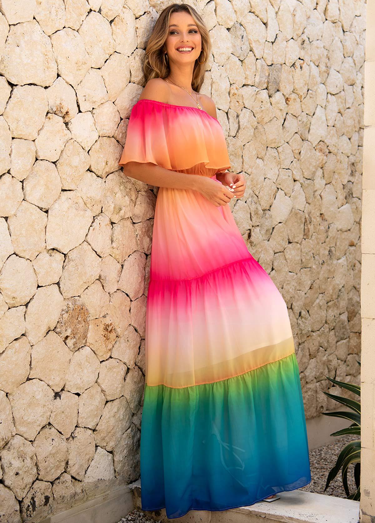 Rainbow Color Off Shoulder Flounce Maxi Dress