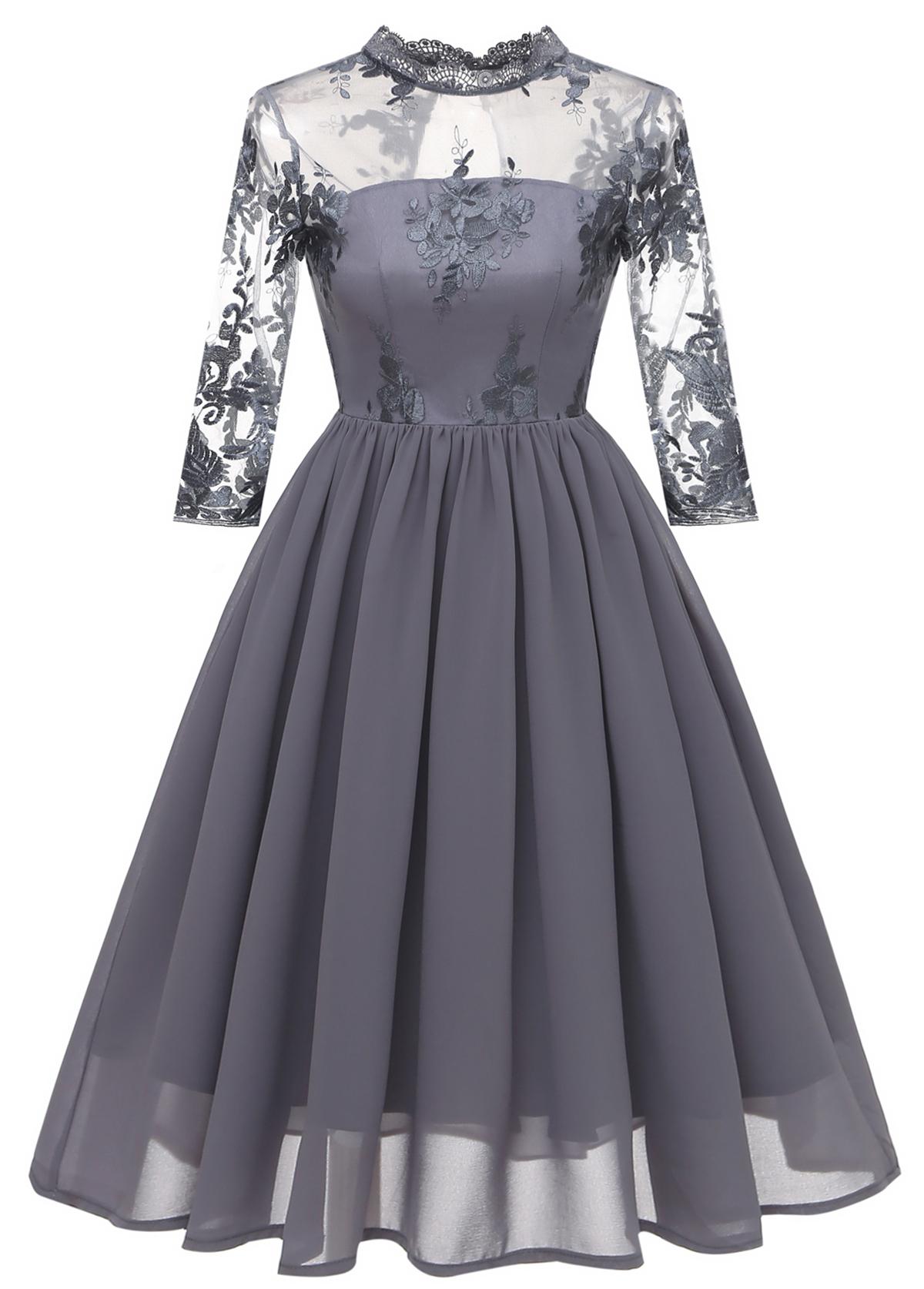 Lace Stitching Mock Neck A Line Dress