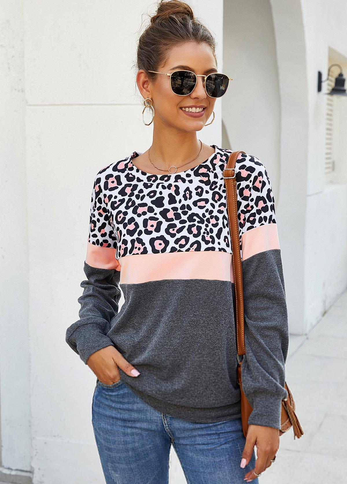 Leopard Print Long Sleeve Contrast Sweatshirt