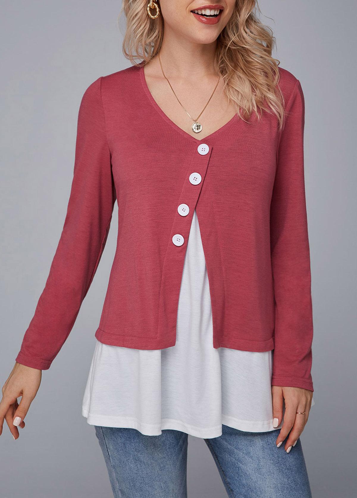 Contrast Button Detail Long Sleeve T Shirt