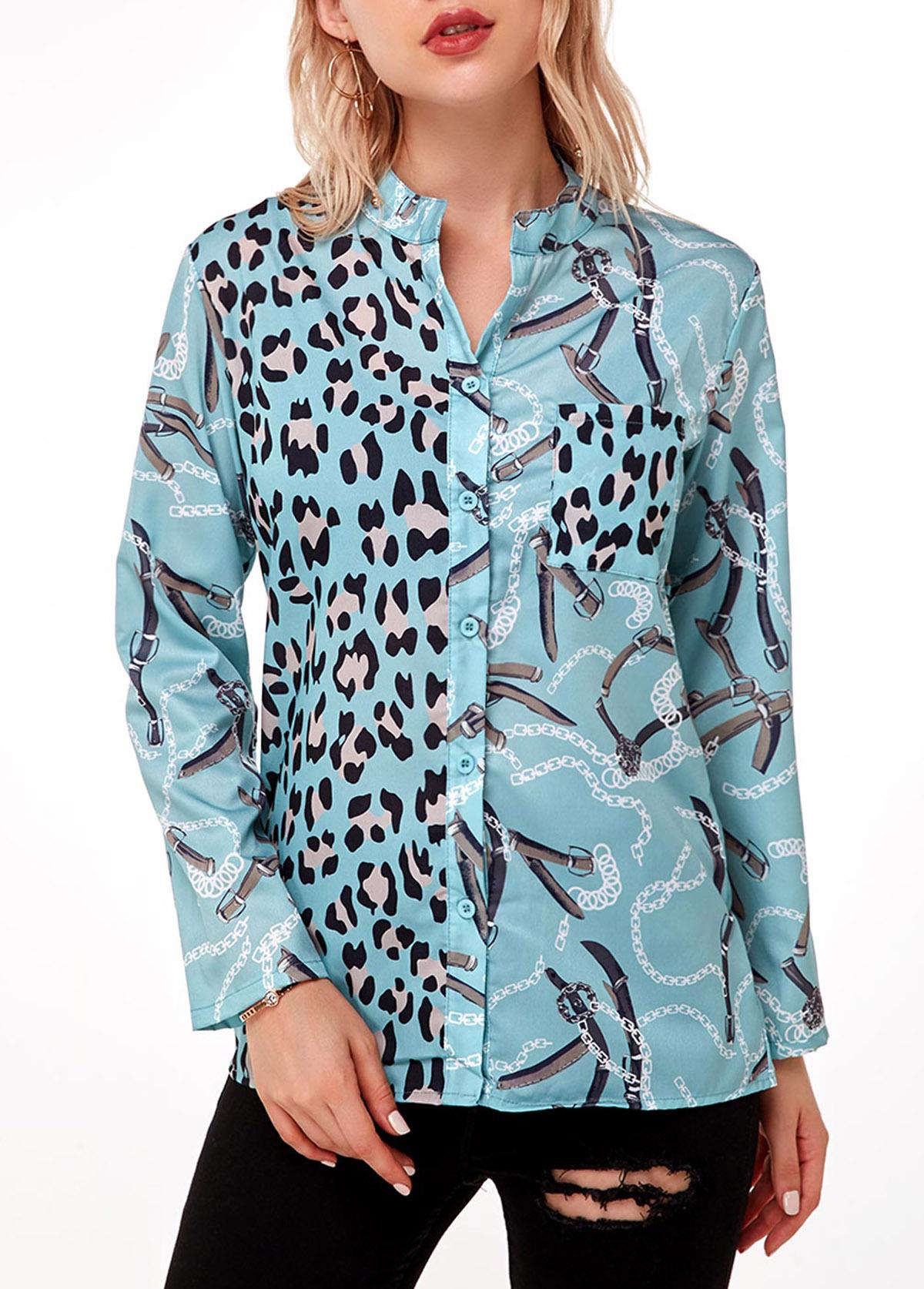 Leopard Button Up Long Sleeve Blouse