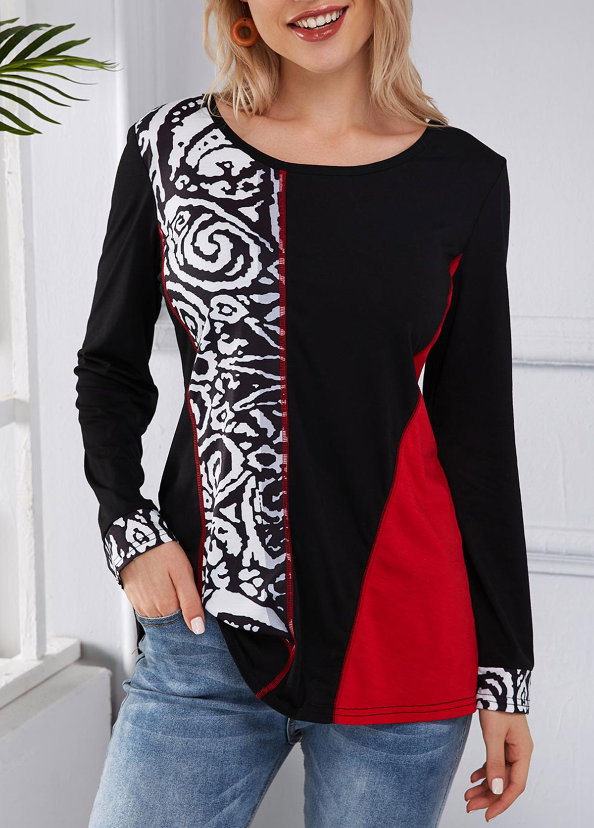 Printed Round Neck Long Sleeve Contrast T Shirt
