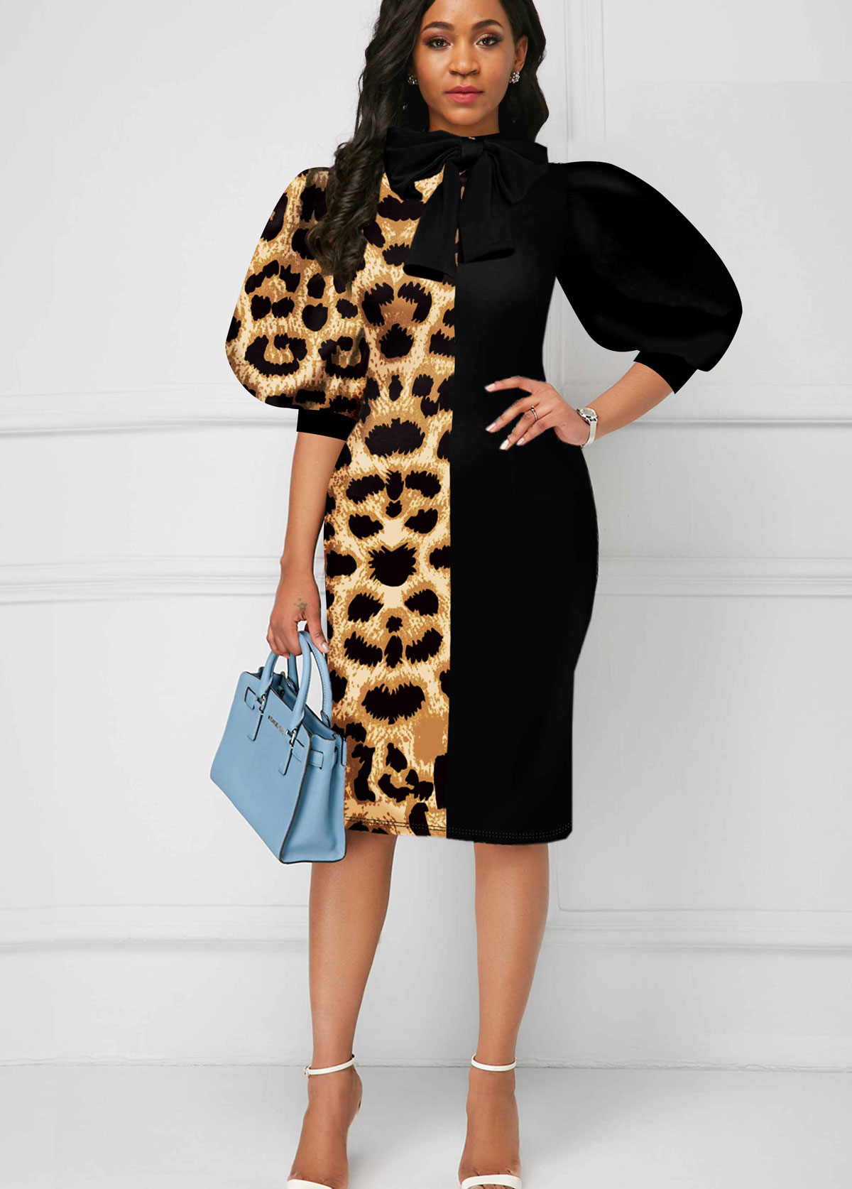 Leopard Puff Sleeve Color Block Bowknot Dress