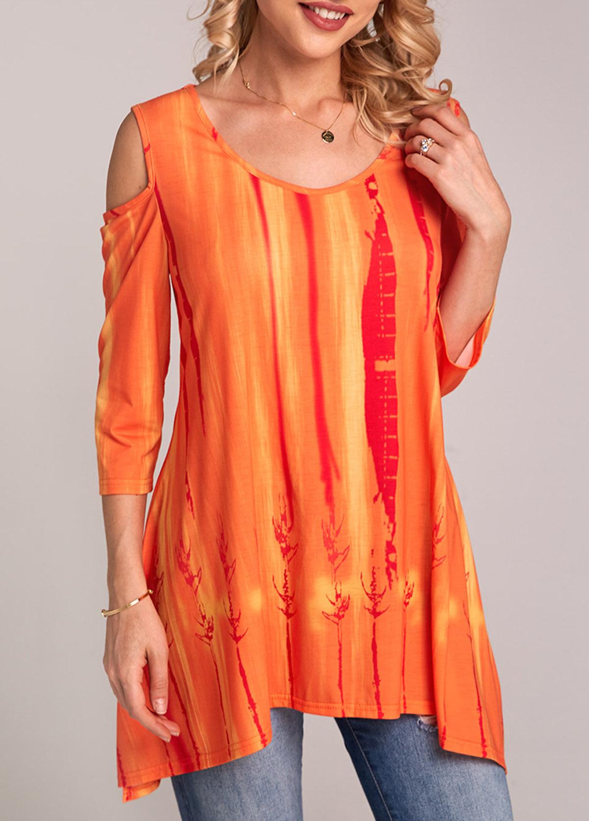 Cold Shoulder Tie Dye Print Orange T Shirt