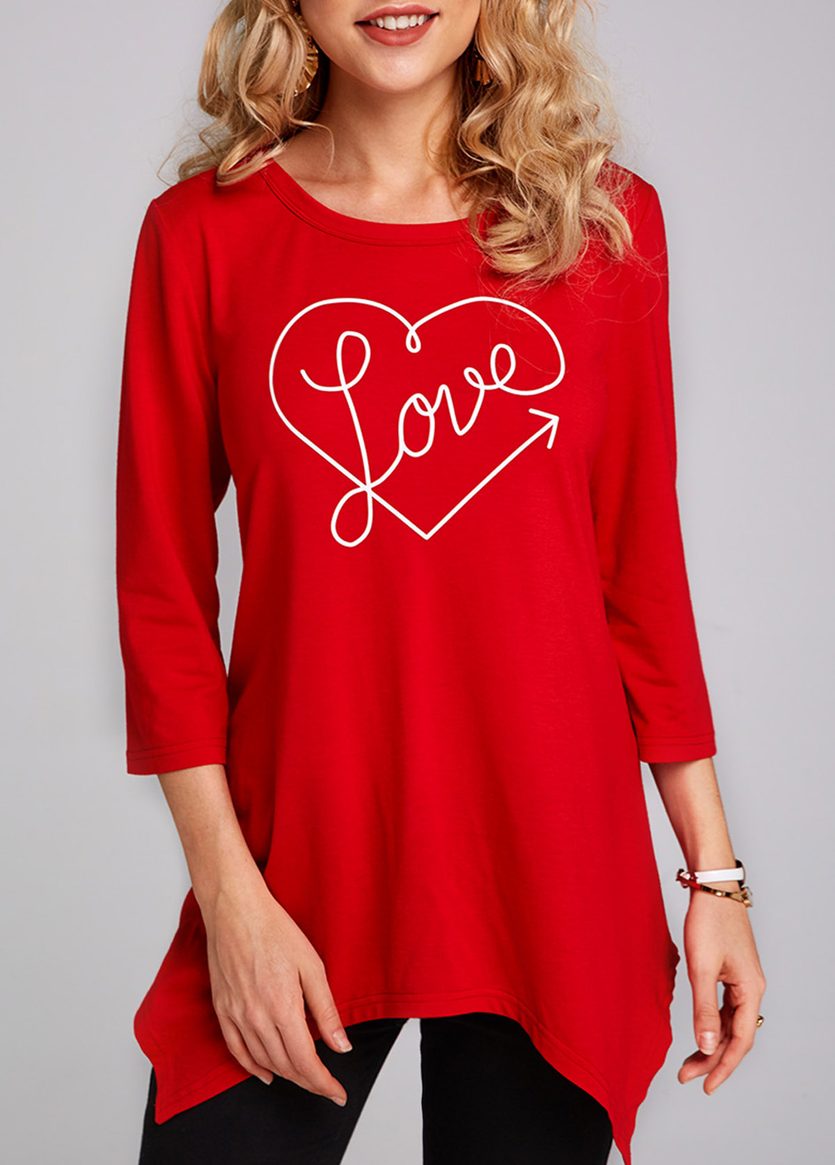 Heart and Letter Print Asymmetric Hem 3/4 Sleeve T Shirt