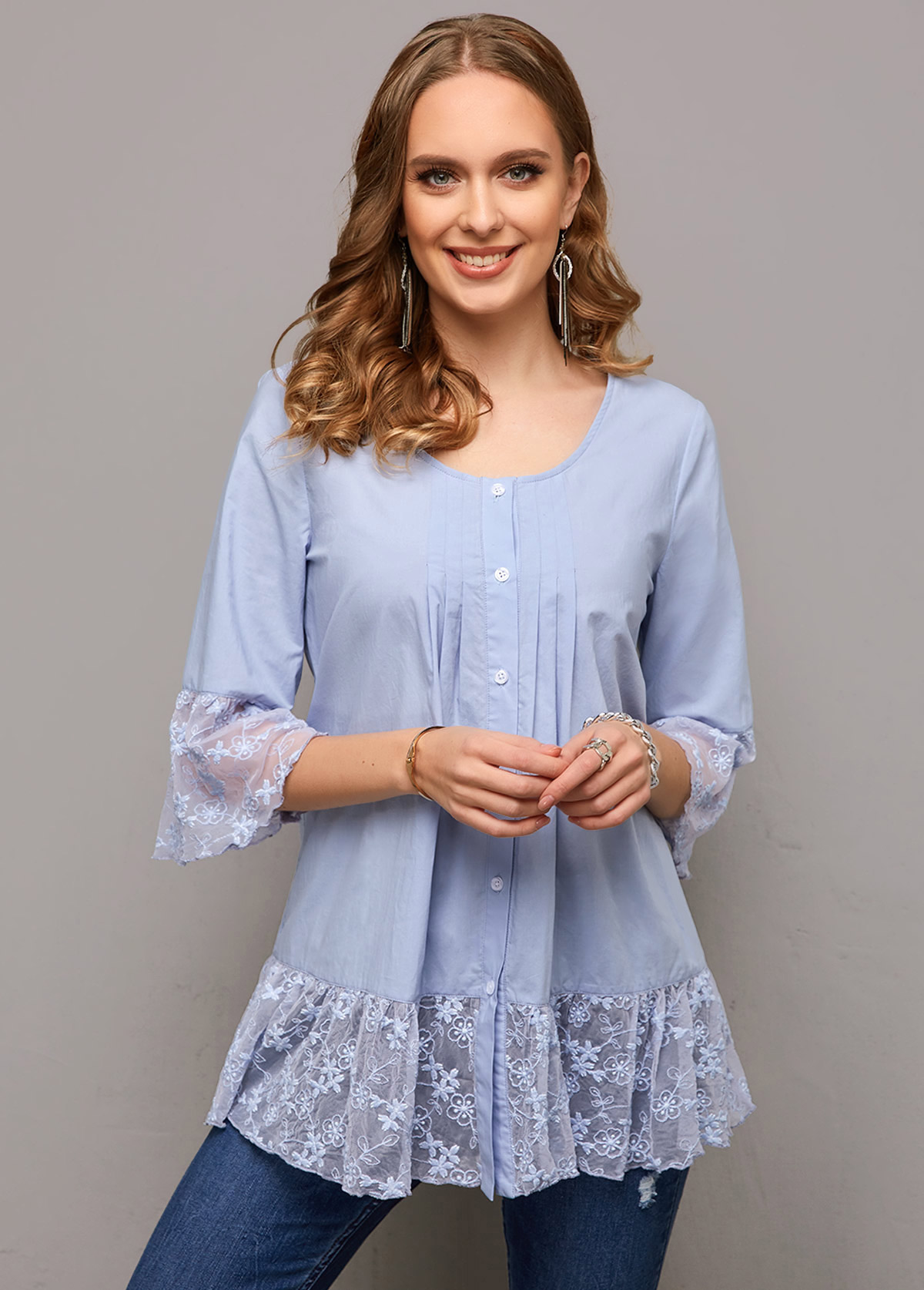 Button Up Lace Stitching Crinkle Chest Blouse