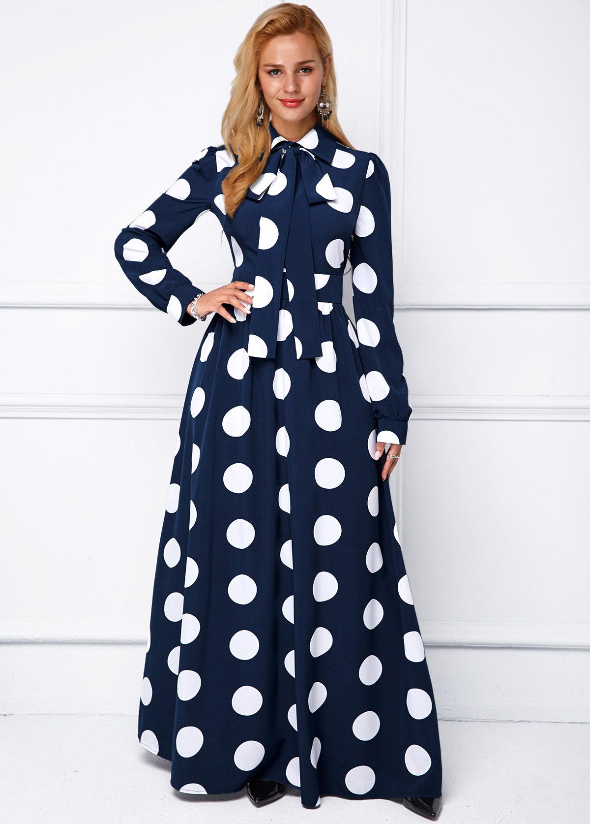 Turndown Collar Polka Dot Long Sleeve Dress