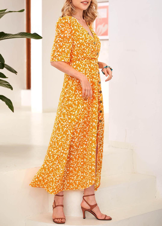 Printed Asymmetric Hem Decorative Button Dress