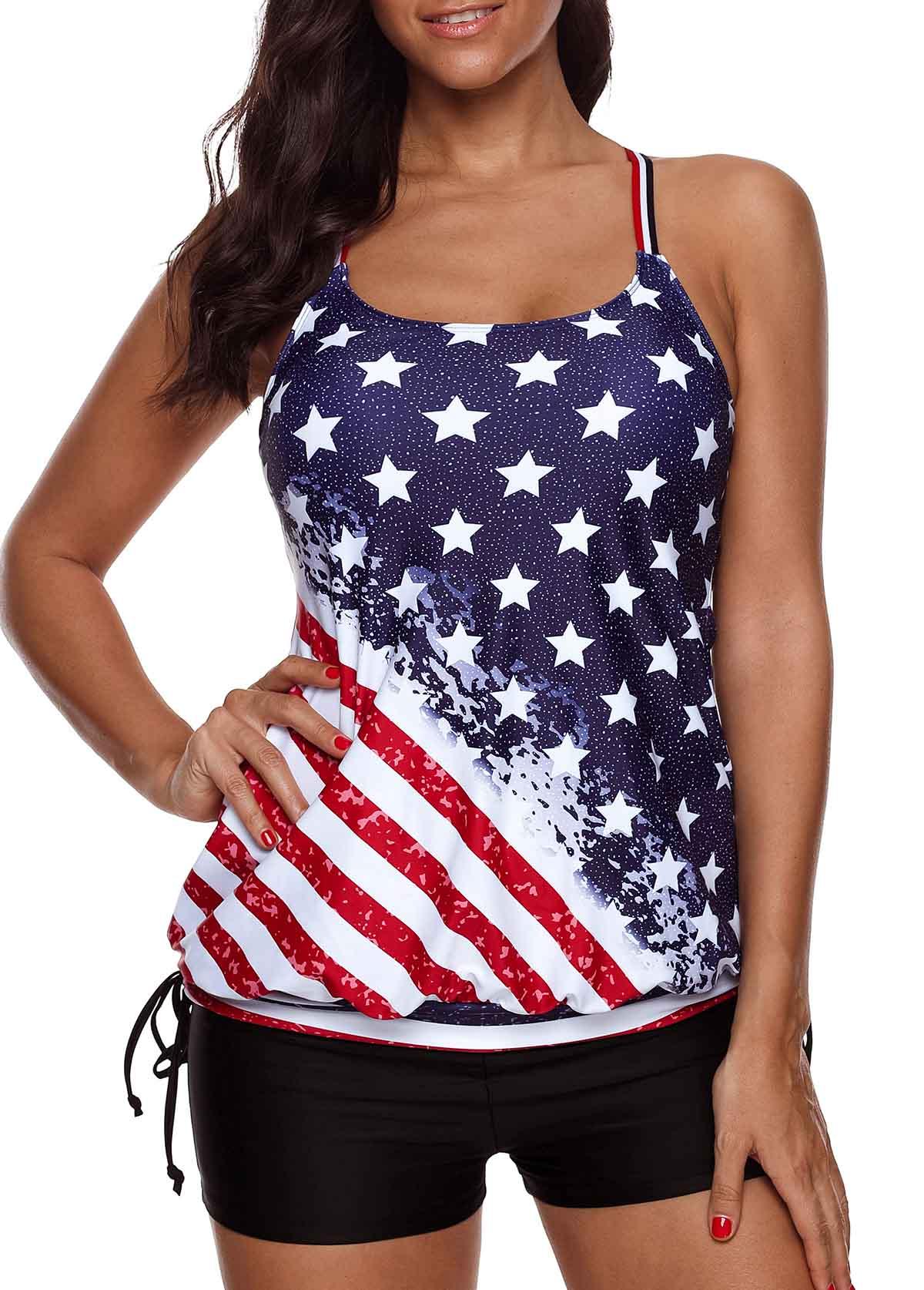 Plus Size American Flag Print Tankini Set