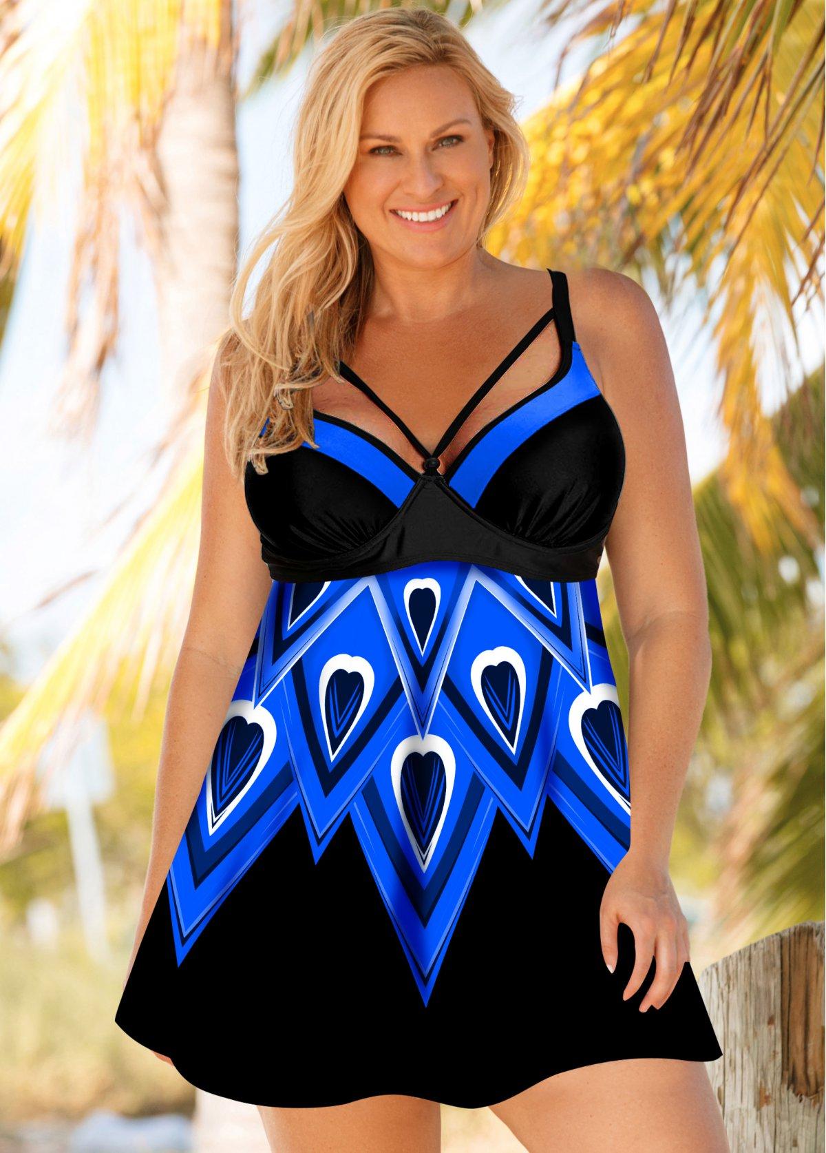 Plus Size Blue Printed Swimdress and Shorts