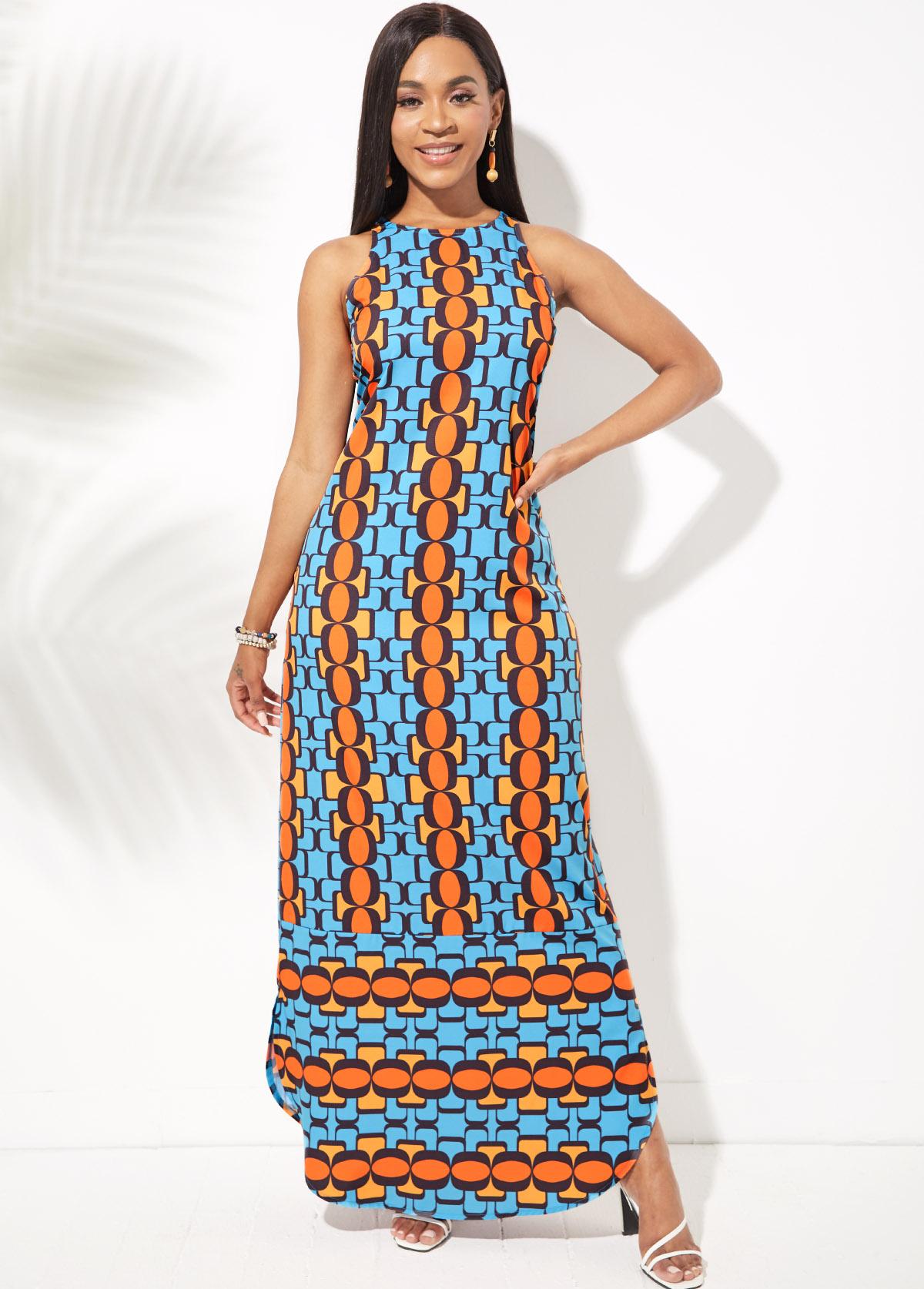 Geometric Print Round Neck Side Slit Dress
