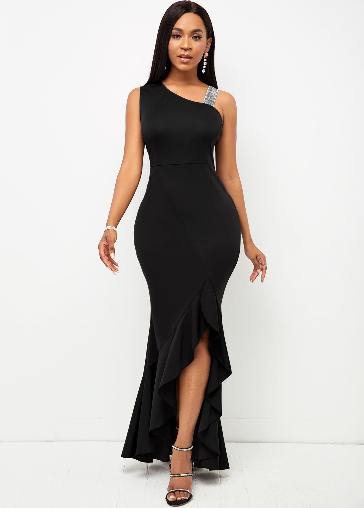 Sequin Contrast Sleeveless Mermaid Hem Maxi Dress