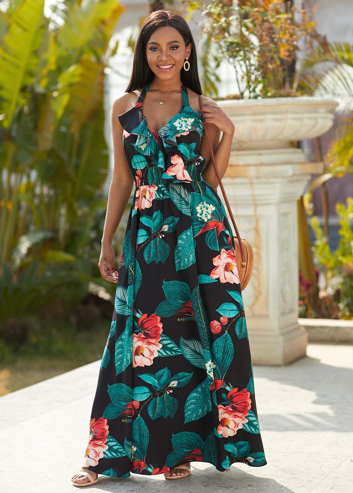 Floral Print Halter Flounce Maxi Dress