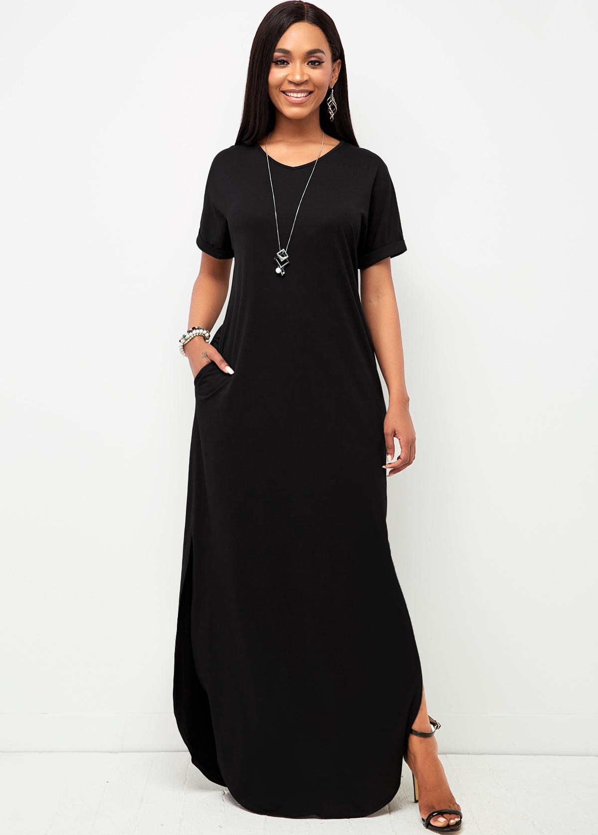 V Neck Black Pocket Casual Dress