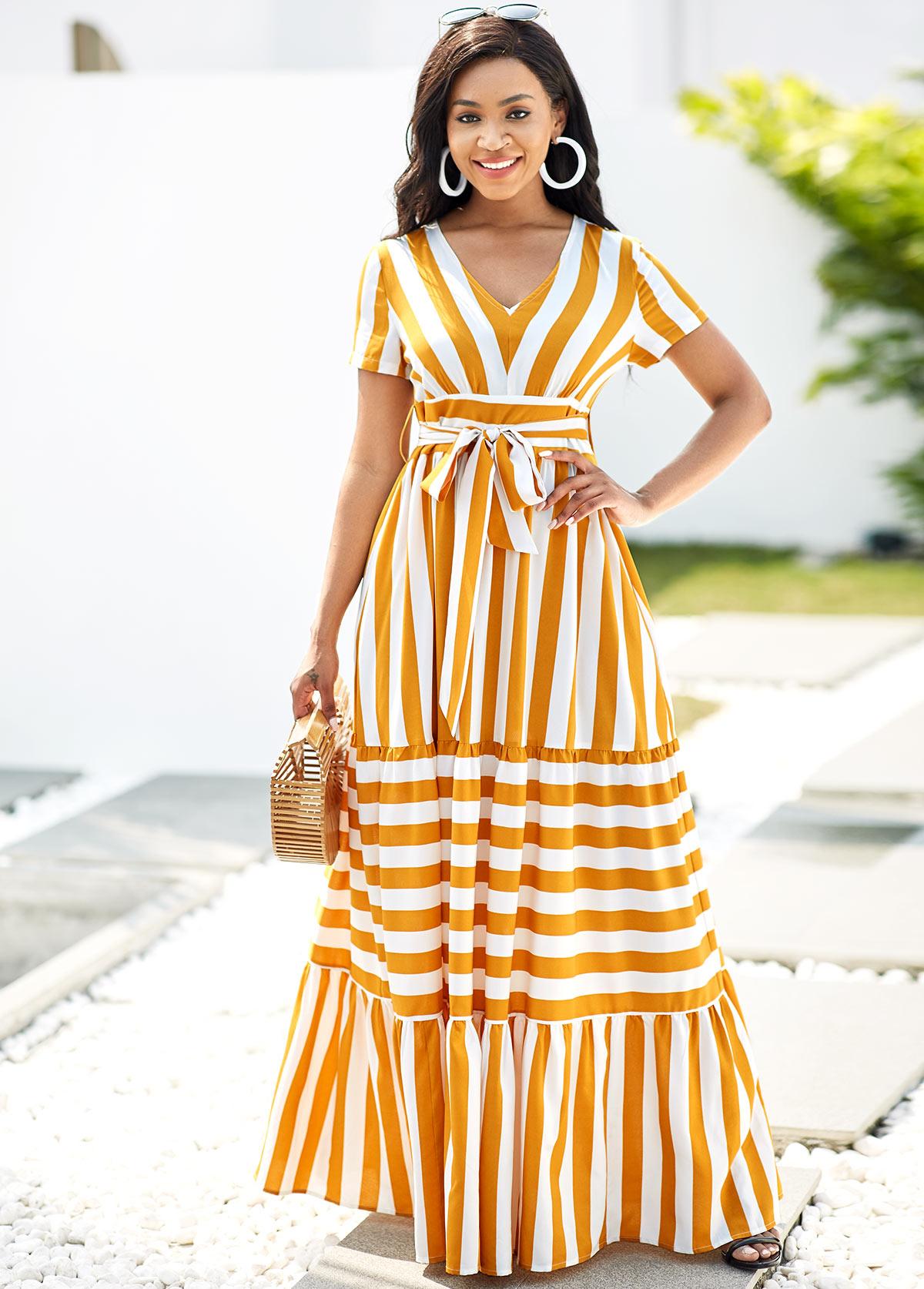 Striped V Neck Belted Short Sleeve Dress