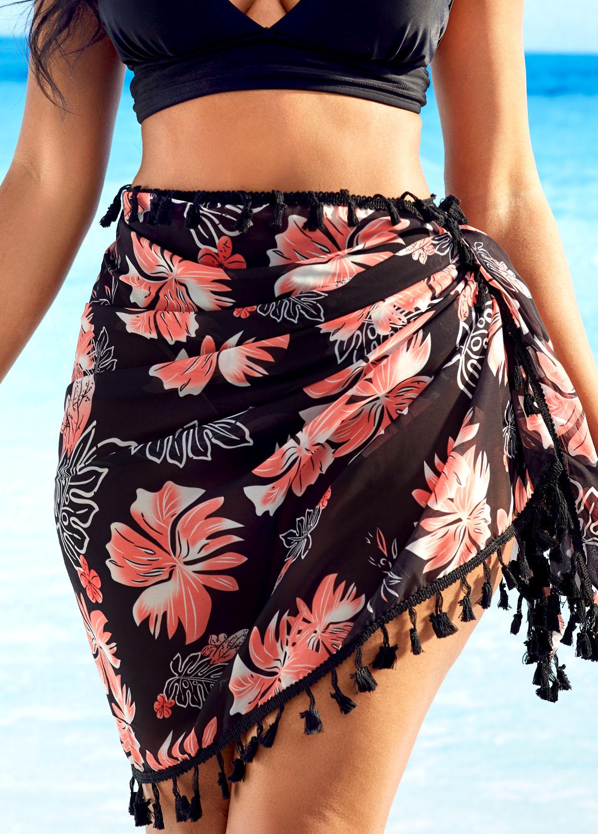 Multi Wear Tassel Detail Floral Print Cover Up