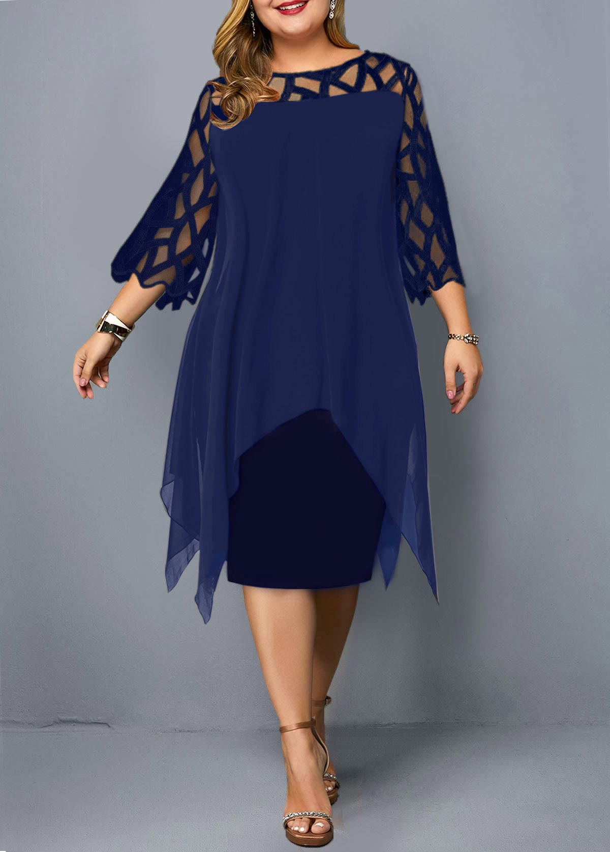 Plus Size Mesh Stitching Asymmetric Hem Dress