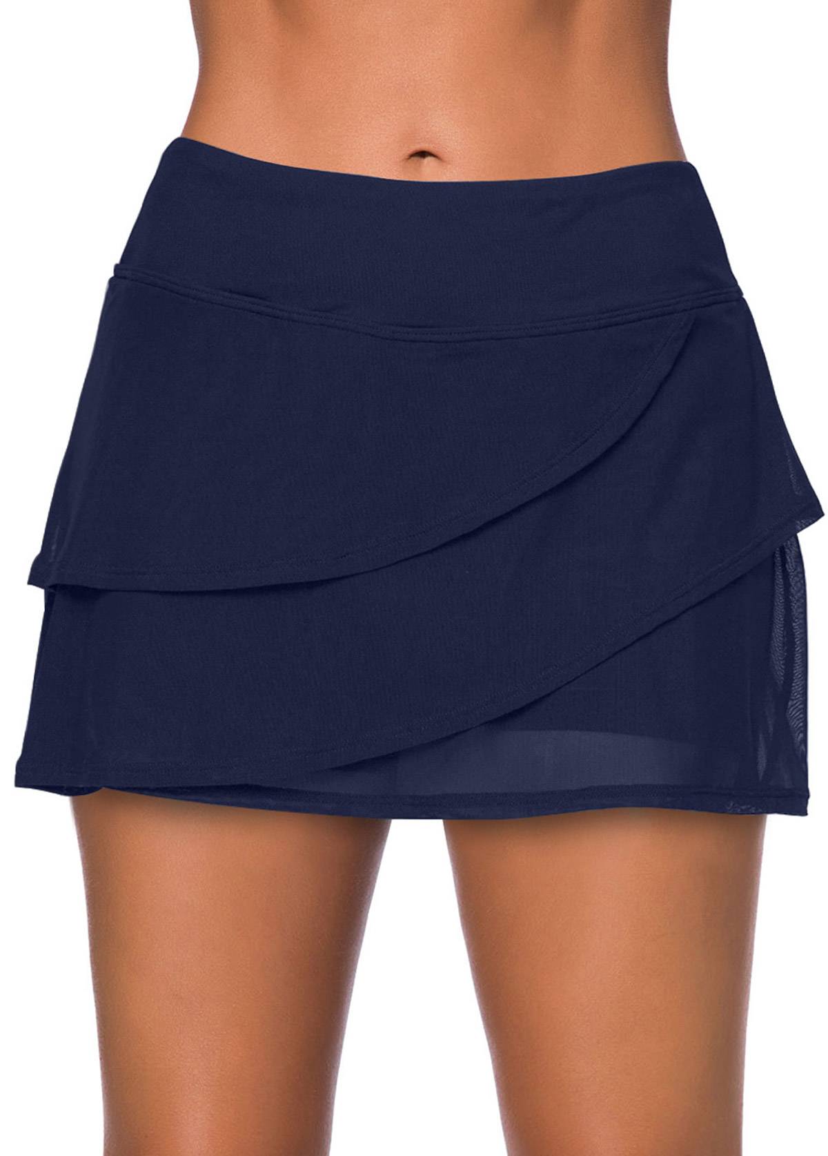 Layered Crossover Hem Navy Blue Swimwear Pantskirt