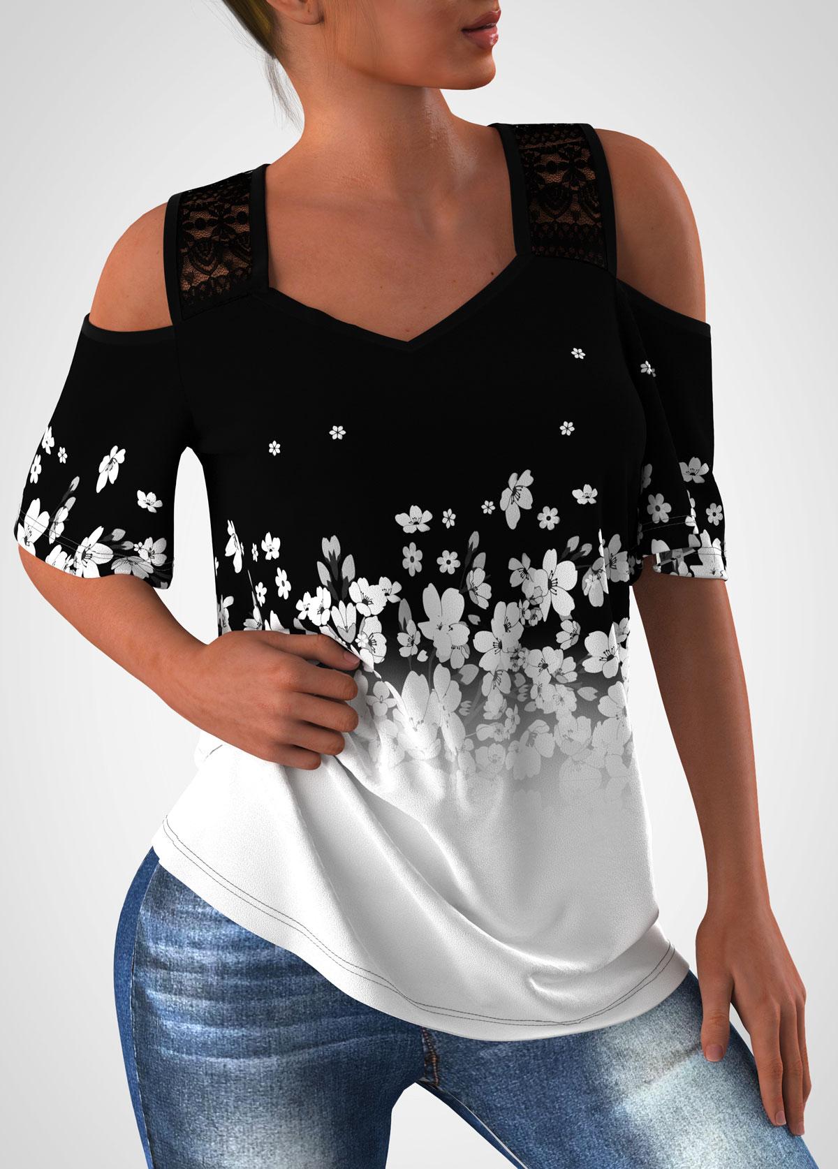 Floral Print Cold Shoulder Lace Stitching T Shirt