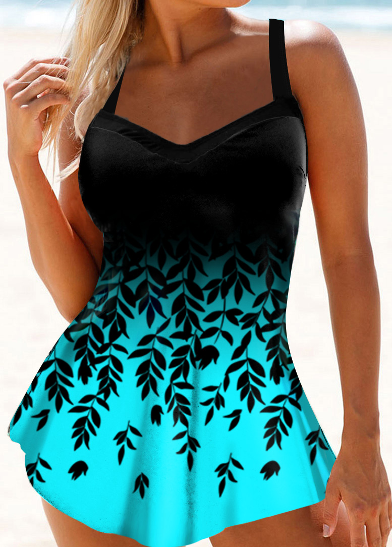 Ombre Leaf Print Spaghetti Strap Swimdress and Panty