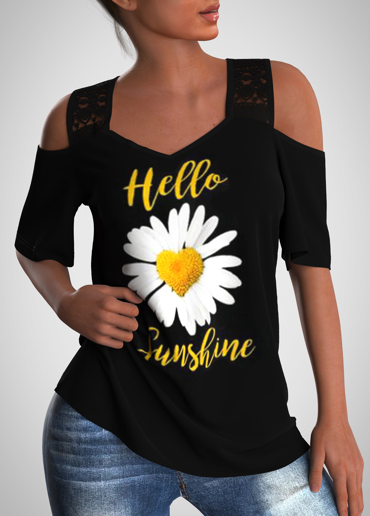 Daisy Print Lace Stitching Cold Shoulder T Shirt