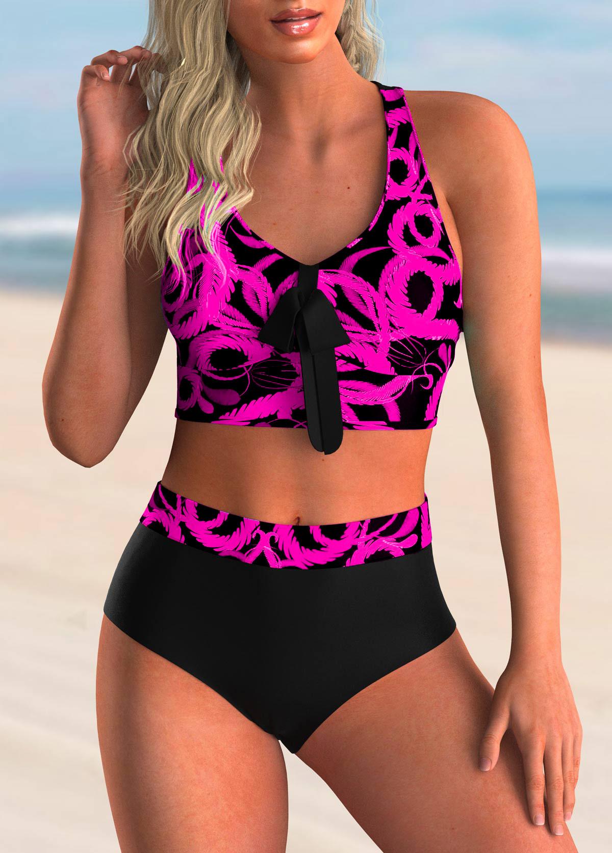 Bowknot Detail Printed Criss Cross Back Bikini Set