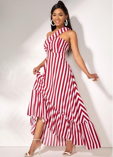 Ladies Dresses On Sale, One Shoulder Striped Sleeveless Maxi Dress