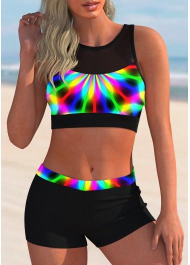 Printed Rainbow Color Mesh Panel Bikini Set