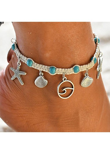 Turquoise Seashell Design Silver Metal Anklet
