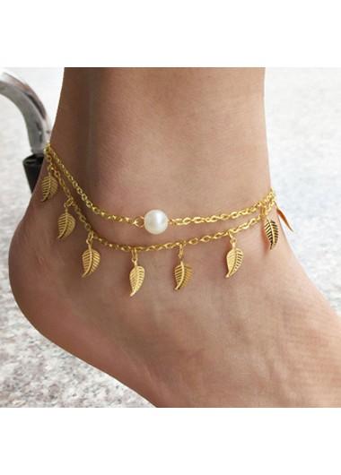 Pearl Detail Leaf Gold Metal Anklet