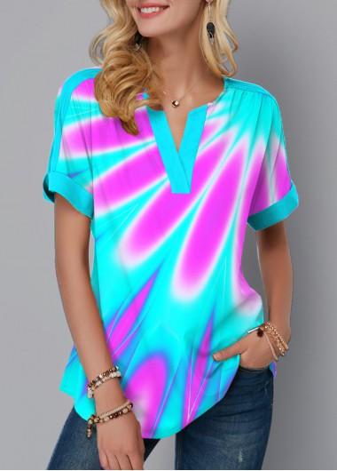 Modlily Multicolor Printed Split Neck Short Sleeve Blouse - XXL