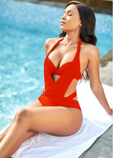 Modlily Red Halter Neck Pierced One Piece Swimwear - XL
