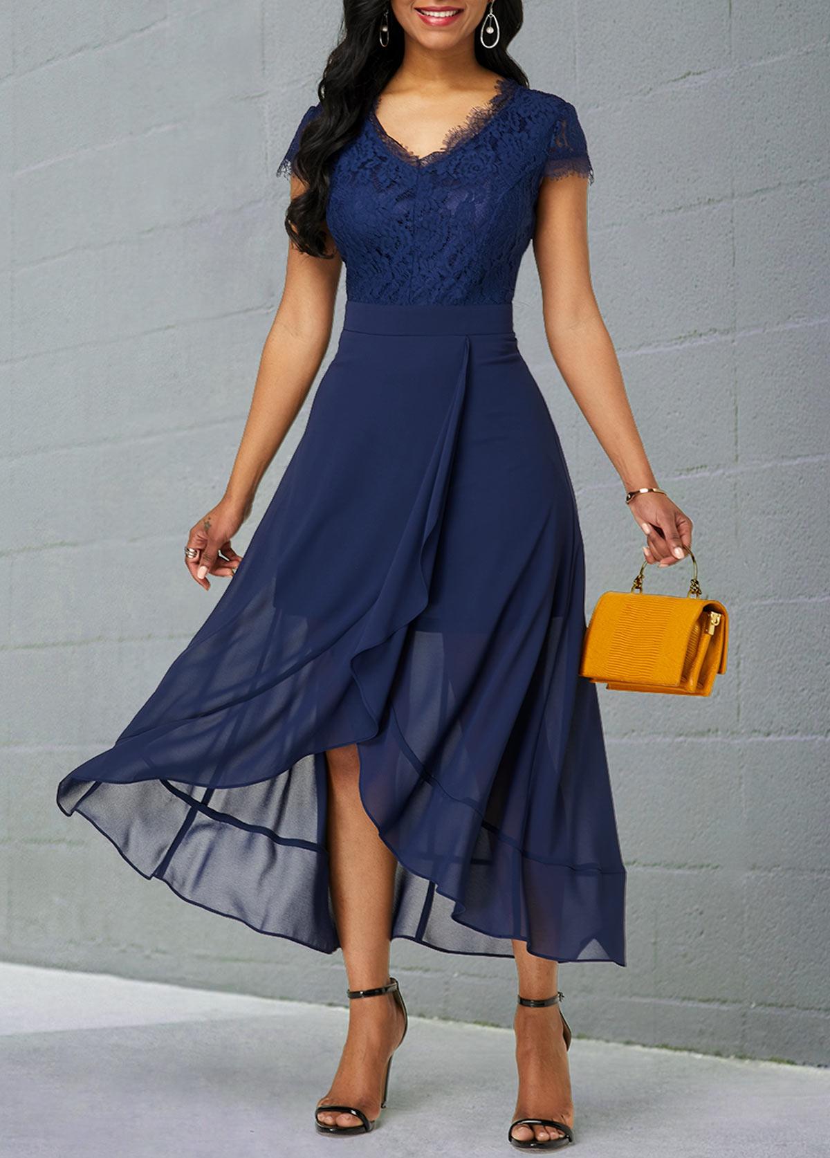 Lace Patchwork V Neck Tulip Hem Chiffon Dress
