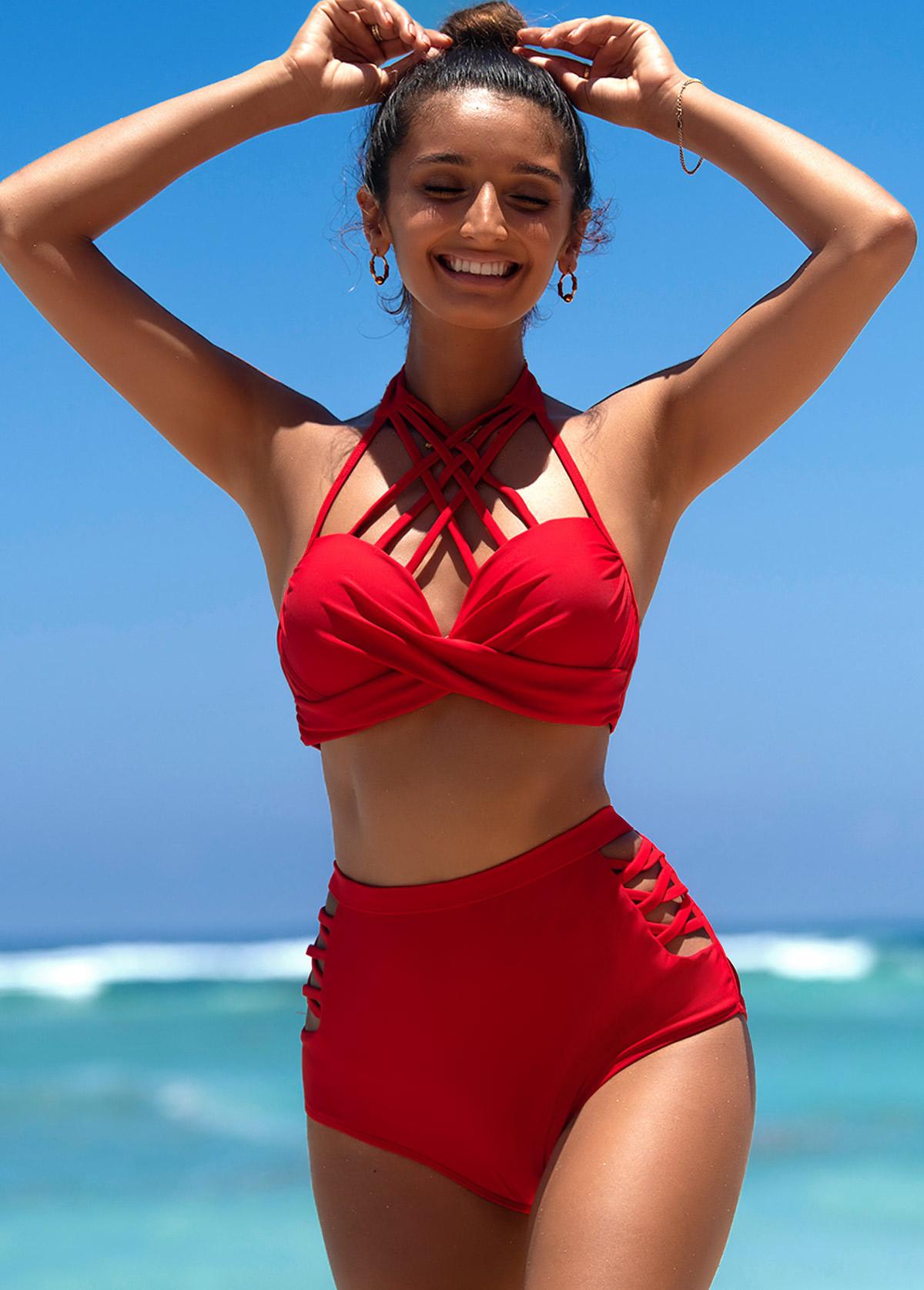 Strappy Neck High Waist Red Bikini Set