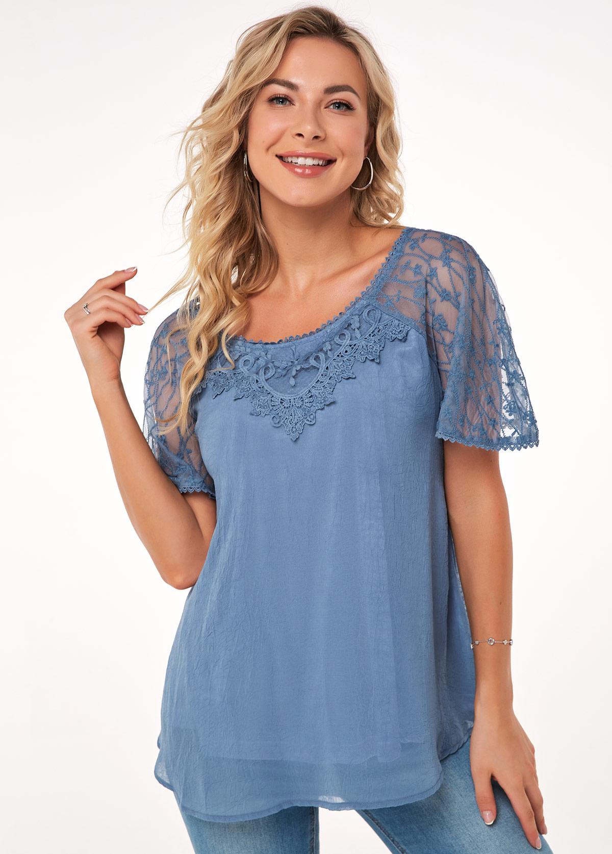 Short Sleeve Lace Stitching Round Neck Blouse