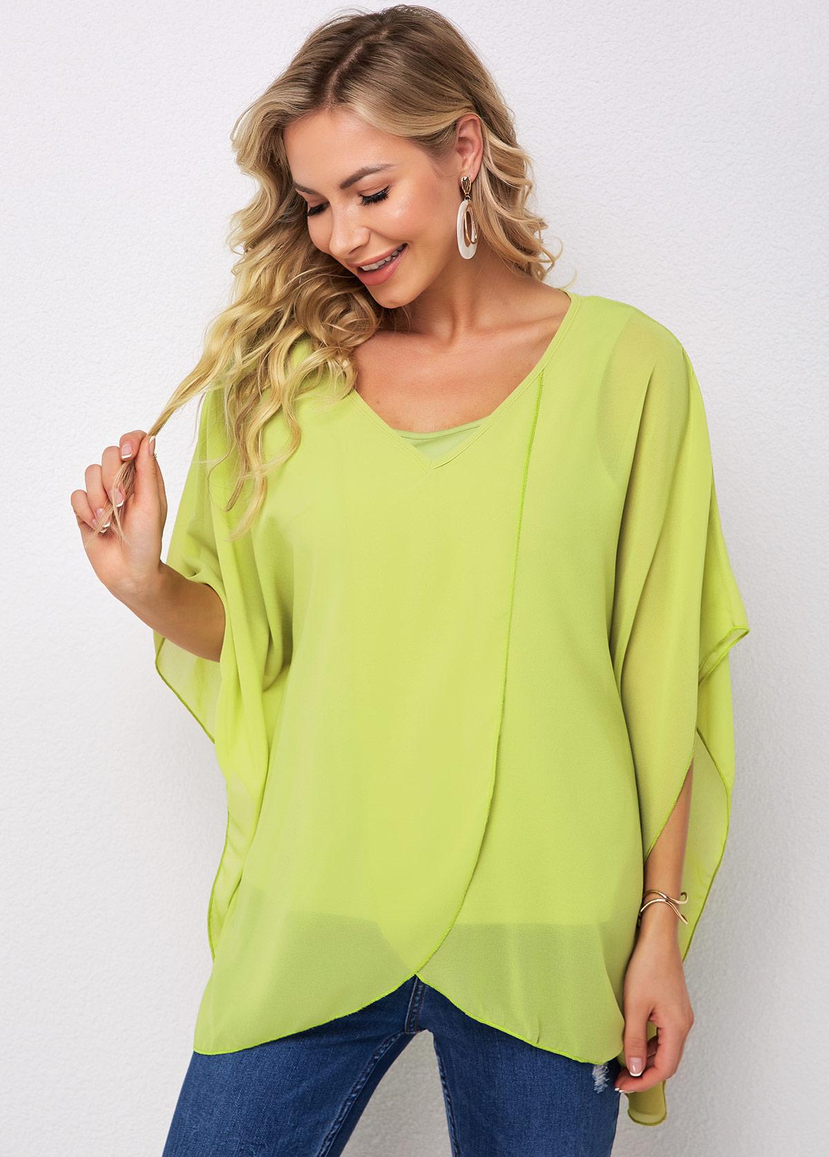 Asymmetric Hem Round Neck Green T Shirt