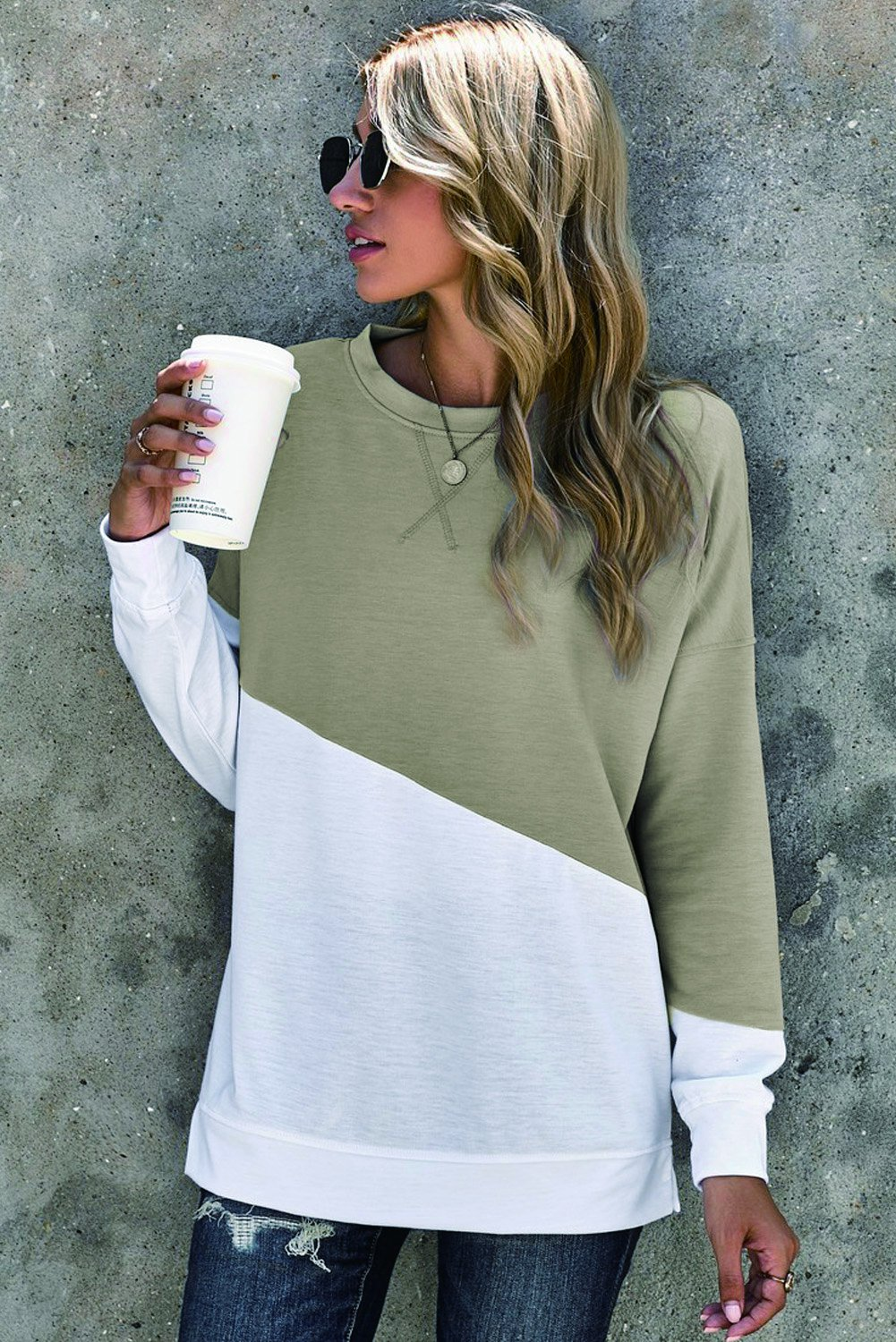 Contrast Round Neck Long Sleeve T Shirt